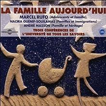 La famille aujourd'hui - Trois conférences de l'Université de Tous les Savoirs Discours Auteur(s) : Marcel Ruffo, Nacira Guénif-Souilamas, André Masson Narrateur(s) : Marcel Ruffo, Nacira Guénif-Souilamas, André Masson