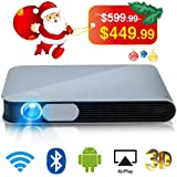 WOWOTO CAN Projector 3500 Lumens 3D DLP Support Full HD 1080P 300in with WiFi Bluetooth AirPlay HDMI Android OS Mini Projector for Home and Office
