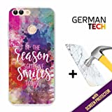 Huawei P Smart Cover Gel Flexible, [ +1 Tempered Glass Screen Protector ], TPU German Tech Case made of Silicone, protects your Smartphone, with our exclusive designs - Reason to smile.