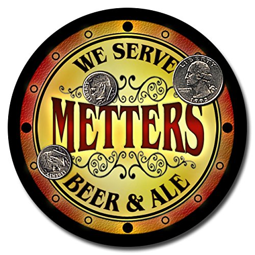 metters-family-name-beer-and-ale-rubber-drink-coasters-set-of-4