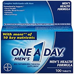 One-A-Day Men\'s Health Formula Dietary Supplement, 100-Count Bottles (Pack of 2)