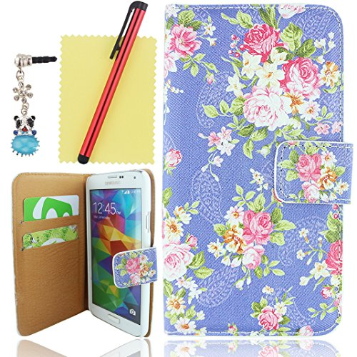 Ancerson Vintage Stylish Printed Hot Pink Rose Blossoms Series Magnet Buckle Built-In Credit/ Id Card Wallet Slots Ultra Slim Pu Leather Protective Flip Folio Stand Case Fit For Samsung Galaxy S5/ Gs 5 V I9600 G900A G900P G900V G900T----Free With A Red St