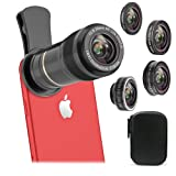 Vorida 5 in 1 Cell Phone Camera Lens, 12X Telephoto Lens + 198° Fisheye Lens+ 0.6X Wide Angle Lens+ 15X Macro Lens+ CPL for iPhone X 8 7 6 Plus, Samsung, etc (Color: Black)