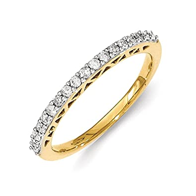 Sterling Silver w/Gold-plating Polished Diamond Ring