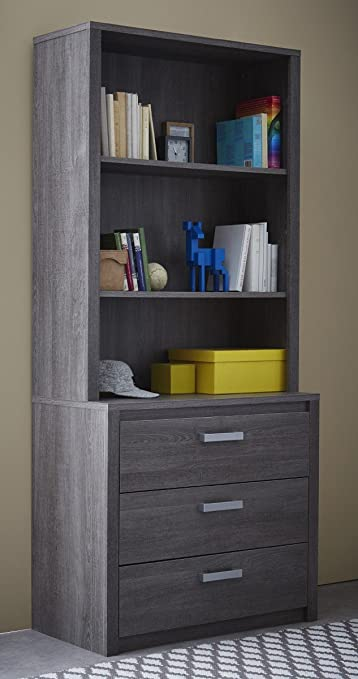 Conjunto cómoda 3 cajones y estantería sobremueble 3 estantes. 90x198cm. Gris ceniza. Para dormitorio