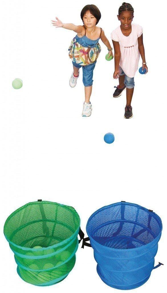 Rucksack-Spiel für 2 Teams / 2 Rucksackkörbe + 20 weiche Stoff-Bälle / inkl. Aufbewahrungstasche + Spielanleitung