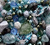Approx 215 x Seascape Tones Blue Green Jewellery Making Starter Beads Mix Set