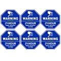 CCTV Video Surveillance Security Door & Window Stickers, Blue Octagon-Shaped, 3.3 X 3.3 Inch Vinyl Decals - Indoor & Outdoor Use, UV Protected & Waterproof - 6 Labels