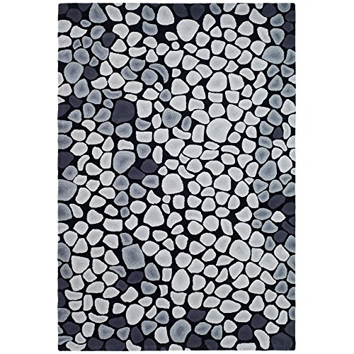 Safavieh Soho Collection SOH722A Handmade Grey and Ivory New Zealand Wool Area Rug, 5 feet by 8 feet (5' x 8')