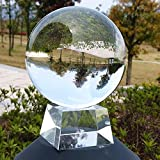 SunAngel 90mm/3.54inch K9 Clear Crystal Ball Globe with Free Crystal Stand for Feng Shui/Divination or Wedding/Home/Office Decoration (90MM with Crystal Stand)