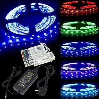 Cinta de Luz LED de 5M 300LEDs 5050 RGB MultiColor de 12V Control Remoto IR Set de Fuente LD135