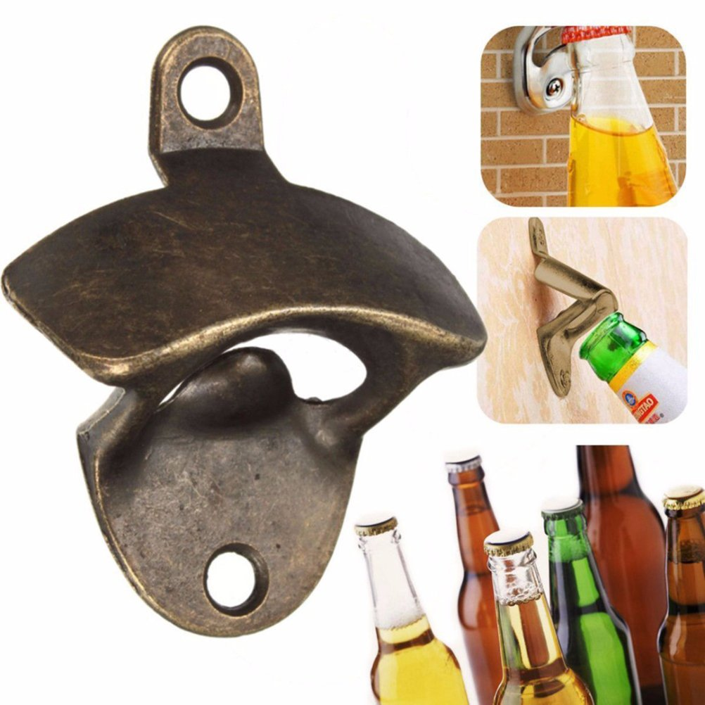 Vintage Wall Mounted Bottle Opener, Bronze, Beer Bottle Cap Opener with Two Screws 0