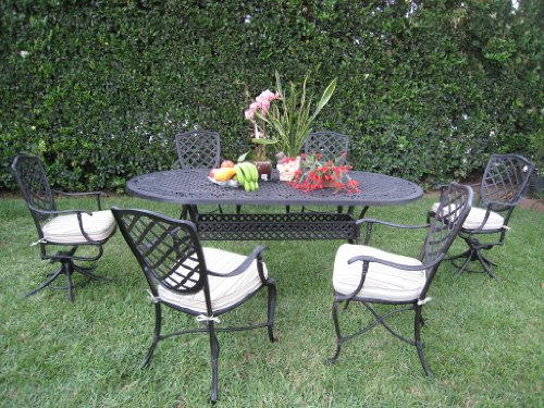 Epic Outdoor Cast Aluminum Patio Furniture Piece Dining Set B with Swivel Chairs W CBM