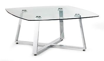 Lloyd Chromed Steel Small Coffee Table - Clear Glass
