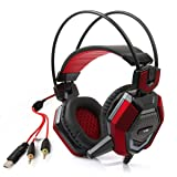 ECOOPRO 3.5mm Over Ear Stereo Gaming Headphones Headset Earphone with Microphone, LED Lights Perfect for PC Games and Listening Music Red (Color: Z Red)