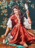 Large Completed Needlepoint Canvas Art Tapestry 24