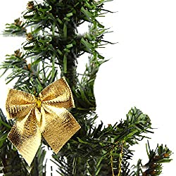 Futaba Christmas Tree Ornaments Xmas Bowknot Tree Hanging Decor - Gold - 12 pcs