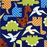 Tela azul con dinosaurios de colores, de Robert Kaufman