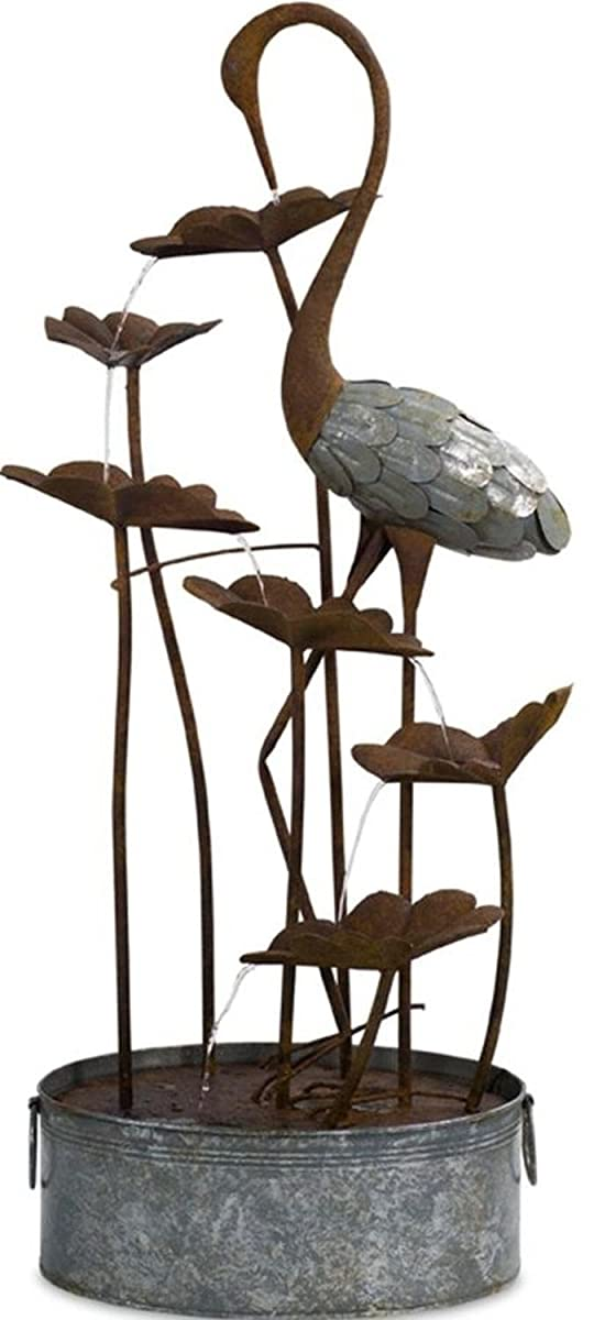 """Melrose Decorative Rustic Brown and Gray Indoor and Outdoor 50""""H Crane and Lily Pad Fountain"""