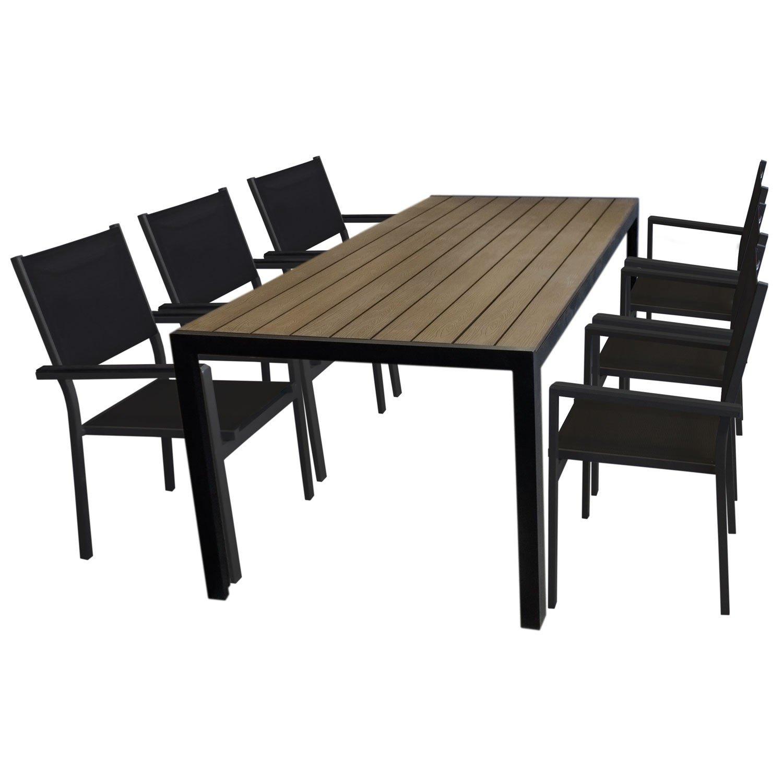 7tlg. Gartengarnitur Aluminium Gartentisch, Tischplatte Polywood Braun, 205x90cm + 6x Aluminium Stapelstuhl, 4x4 Textilenbespannung, schwarz - Gartenmöbel Set Sitzgarnitur Sitzgruppe