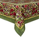 Couleur Nature 90-inches Round Jardine Tablecloth, Red/Green