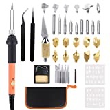 Wood Burning Kit,EVNEED 39 pcs 60W 110 V Wood Burning Pyrography Kit Adjustable Temperature Soldering iron Pen + Embossing/Carving/Soldering Tips +Stencil + Stand + Carrying Case (Color: Orange)