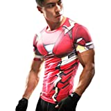 HOCOOL Men's Compression Fithness Tee,Ironmen Red Slim Gym Runing Shirt M (Color: Nns Ironmen Red, Tamaño: M=Bust-32.3/Shoulder-14.2)