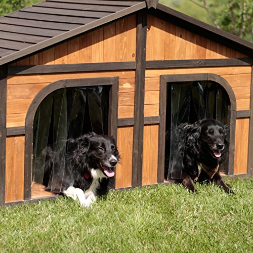Extra Double Large Darker Stain Duplex Dog House Features Naturally