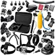 Zookki� GoPro Accessory Kit GoPro Accessories Bundle Kit for GoPro Hero Camera Includes GoPro 4 GoPro Hero 4 Black Silver GoPro 3+ GoPro Hero 3+ Black Silver GoPro 3 Gopro Hero 3 Black Silver GoPro Hero 2 Black Silver SJ4000 SJ5000 SJ6000 Camera Camcorder(Head Belt Strap Mount + Chest Belt Strap Mount + Extendable Handle Monopod + 360-degree Rotating Clip Mount + Kite Line Mount Holder + Bike Handlebar Holder Mount + Car Suction Cup Mount;etc) Sports Camera Accessory Kit