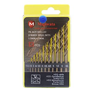 Migiwata Metric M35 Cobalt Steel Extremely Heat Resistant Twist Drill Bits with