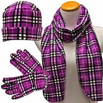 Luxury Divas Purple White Black Plaid 3 Piece Polar Fleece Hat Scarf Glove Set