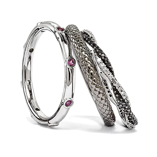 Black Bow Jewellery Company : Silver Stackable Triple Delight Garnet and Diamond Ring Set