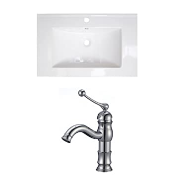 "Jade Bath JB-15734 24"" W x 18"" D Ceramic Top Set with Single Hole CUPC Faucet, White"