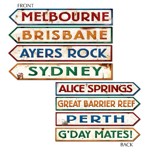 Outback Rock Weekend Australia Directional Sign Cutouts 4pk