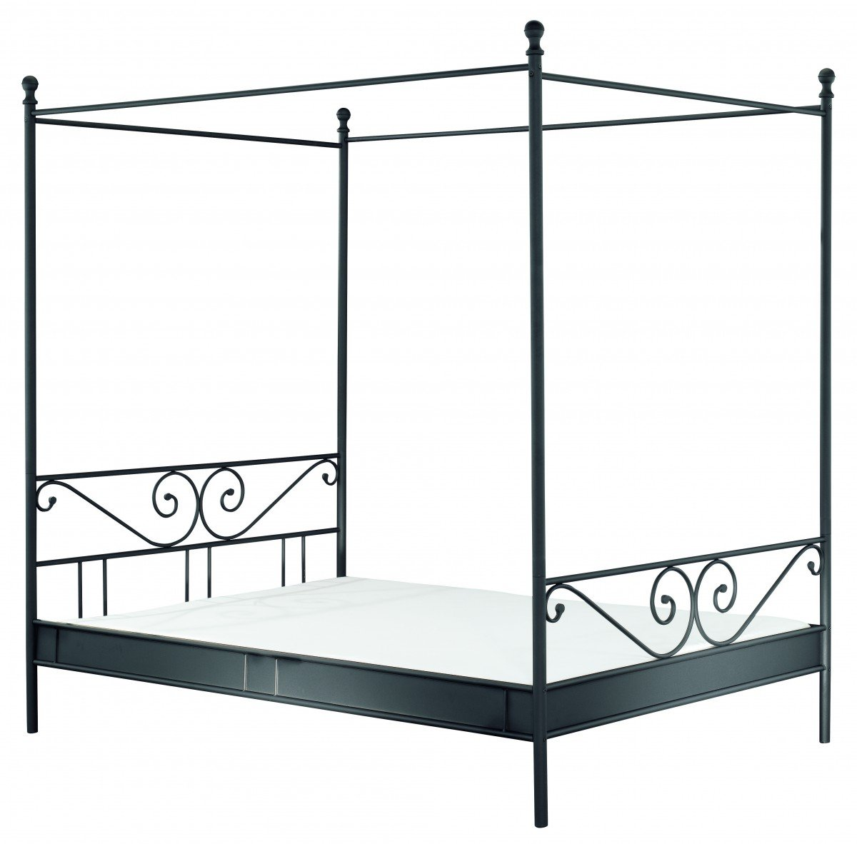 Dreams4Home Metallbett 'Magic' Bett,Himmelbett,Bettgestell,Metallbett,140/180x200,weiß oder schwarz, Liegefläche:180x200 cm;Farbe:Schwarz