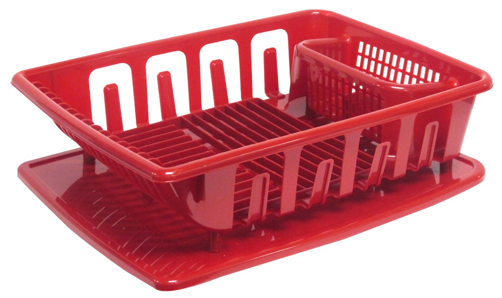 united solutions sk0124 2 piece sink set dish drainer and drainboard red large ebay. Black Bedroom Furniture Sets. Home Design Ideas