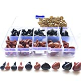 New Product 130 Pieces Mini Plastic Safety Noses Triangle with 130 Pieces Washers and Storage Box for Teddy Bear Stuffed Animals Toys Amigurumis Dolls Accessories, 5 Sizes (Black, Brown) (Color: Black, Brown, Tamaño: Small)
