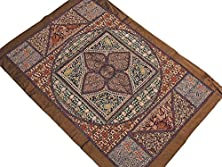 buy Fine Needle Embroidery Patchwork Tapestry - Brown Traditional Kashmir Wall Hanging ~ 38 Inch X 26 Inch
