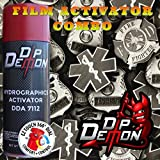 Combo Kit First Responder Police EMS Fire Fighter Hydrographic Water Transfer Film Activator Combo Kit Hydro Dipping Dip Demon (Tamaño: 16oz Can of Activator + 20