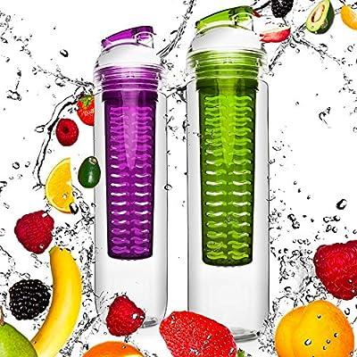 2x 800ml Trinkflasche für Fruchtschorlen / Gemüseschorlen in den Farben Grün/Lila & Blau/Rot. Perfekte Sportflasche aus spülmaschinenfesten Tritan-Material mit extra-easy Trinkverschluss zum Sparpreis im Set