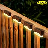 Solar Step Lights Outdoor Waterproof LED Solar Stairs Lights for Deck Patio Fence Walkways - Auto On/Off 4 Pack Warm Light (Brown)