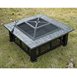Outsunny  Square Outdoor Backyard Patio Metal Firepit,  32-Inch