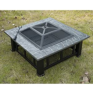 Outsunny square 32 outdoor backyard patio for Amazon prime fire pit