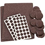 Self-Stick, Heavy Duty Felt Pads Value Pack Assortment for Hard Surfaces (102 pieces) - Brown, Assorted Sizes