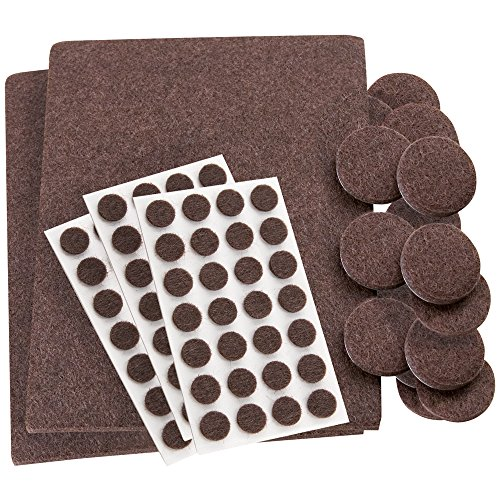 Self-Stick, Heavy Duty Felt Pads Value Pack Assortment for Hard Surfaces (102 pieces) - Brown, Assorted Sizes (Felt Pads To Protect Furniture compare prices)