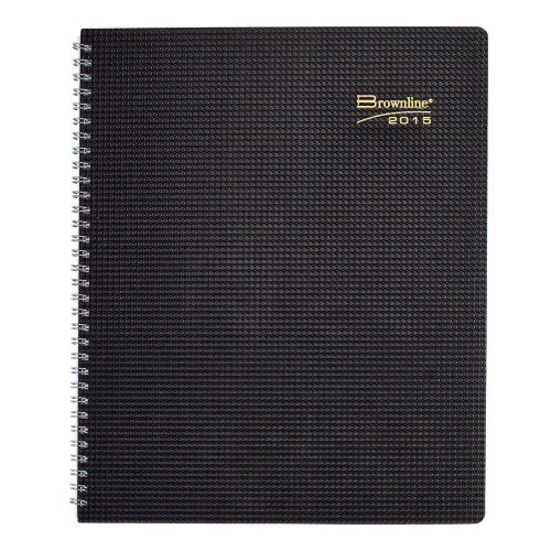 Brownline 11 X 8.5 Inches 2015 Duraflex Monthly Planner with Twin-Wire, Black (CB1262V.BLK-15)
