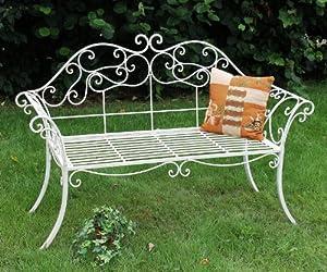 panchina da giardino romance bianco 111183 146 centimetri