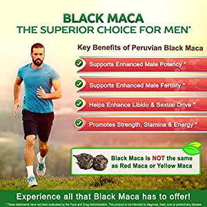 Pure Black Maca Root - 180 Capsules - Max Strength 1000mg Per