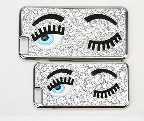 【WOPOW】アップル iPhone6S/6 PLUS iPhone5S/5 Big 目 睫毛 マツゲ キラキラ 携帯カバー カワイイ 面白携帯ケース (iPhone6S/iPhone6, シルバー・銀色)