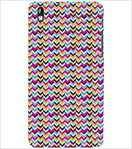 PrintDhaba ZIGZAG PATTERN D-6697 Back Case Cover for HTC DESIRE 816 (Multi-Coloured)